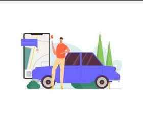 Vehicle positioning illustration vector