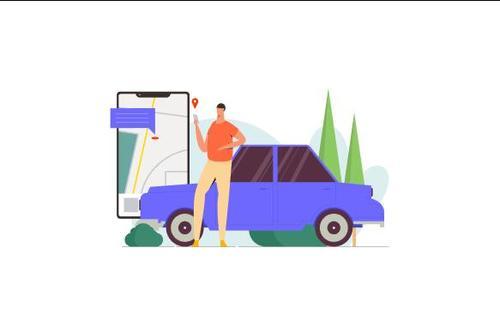 Vehicle positioning illustration vector