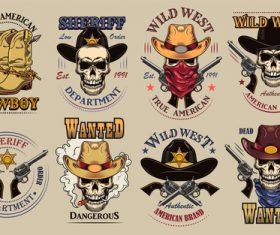 Vintage wild west flat sign set vector