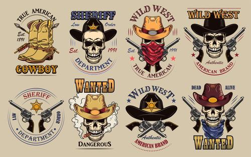 Vintage wild west flat sign set vector