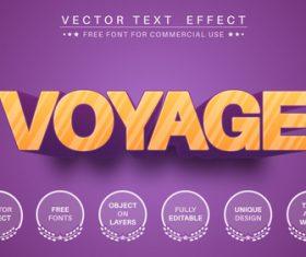Voyage editable font text design vector