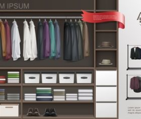 Wardrobe realistic 3d illustration vector