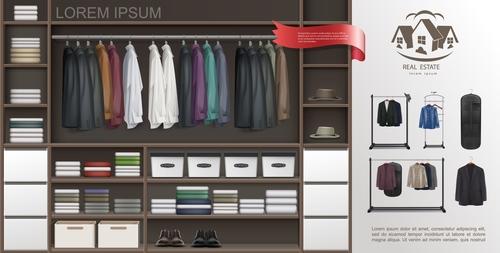 Wardrobe realistic 3d illustration vector