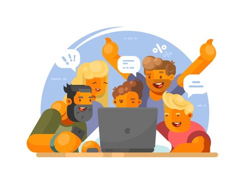 Watching video cartoon illustration vector