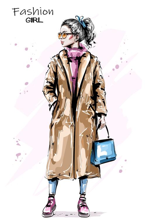 Watercolor fashion girl vector