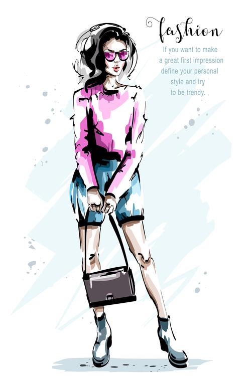 Watercolor painting woman vector