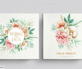 Wedding invitation card template vector with flowers