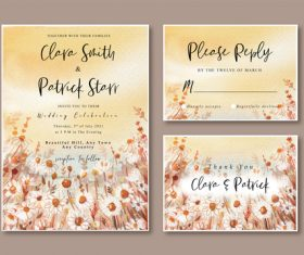Wedding invitation card watercolor vector