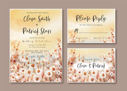 Wedding invitation card watercolor vector