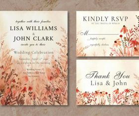 Wedding invitation card wildflowers landscape watercolor vector