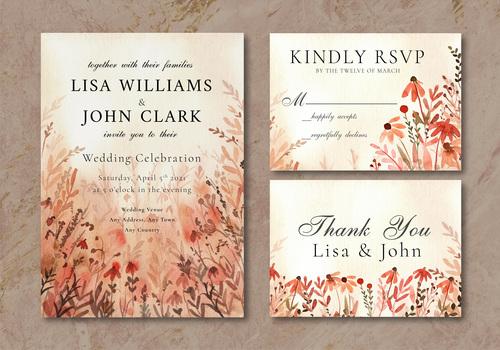 Wedding invitation card wildflowers landscape watercolor vector