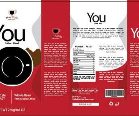 White and red coffee packaging vector