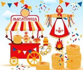 Wide shrovetide national holiday and design elements illustration vector