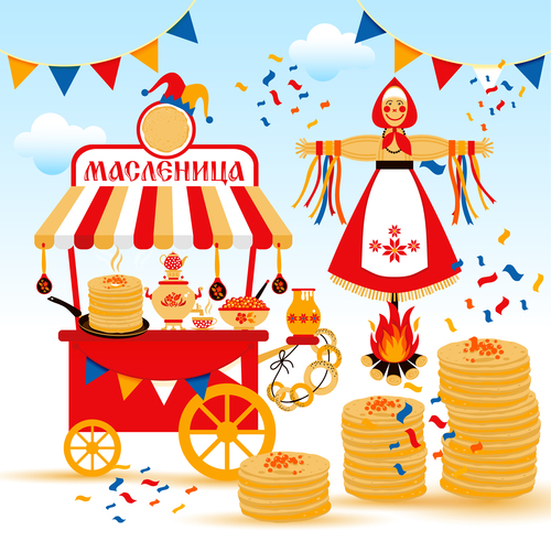 Wide shrovetide national holiday and design elements illustration vector