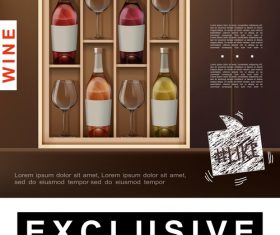 Wine alcohol realistic 3d illustration vector