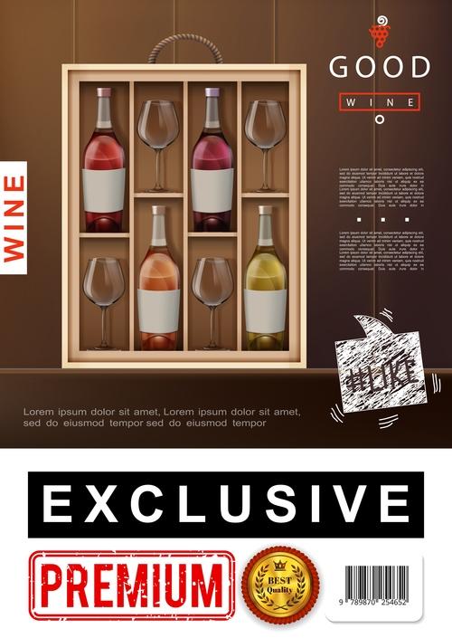 Wine alcohol realistic 3d illustration vector