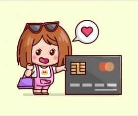 Woman and credit card cartoon icon vector
