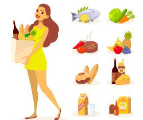Woman and food vector