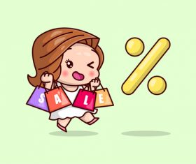 Woman and sale cartoon icon vector
