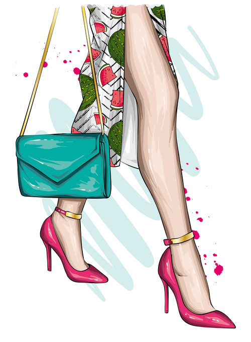 Woman in cheongsam watercolor illustration vector