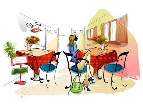 Woman in the restaurant illustration vector