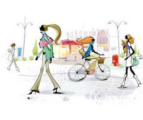 Woman on the street illustration vector
