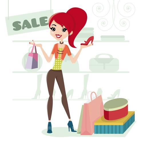 Woman shopping for shoes cartoon illustration vector