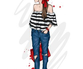 Women fashion clothes and accessories watercolor illustration vector