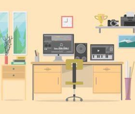 Workspace composer illustration background vector