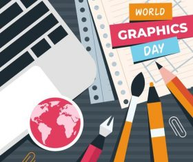 World Graphic day painted illustration flat design vector