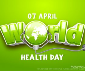 World health text style effect vector