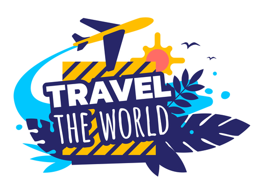 World travel illustration vector