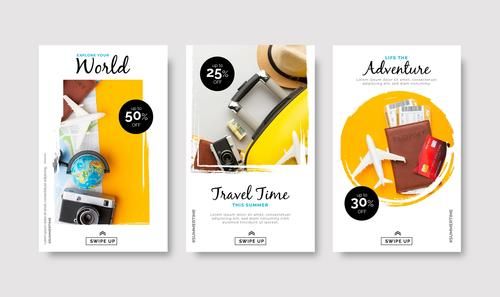 World travel promotion card vector