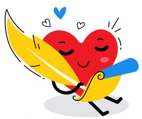 Writing letter cartoon illustration vector
