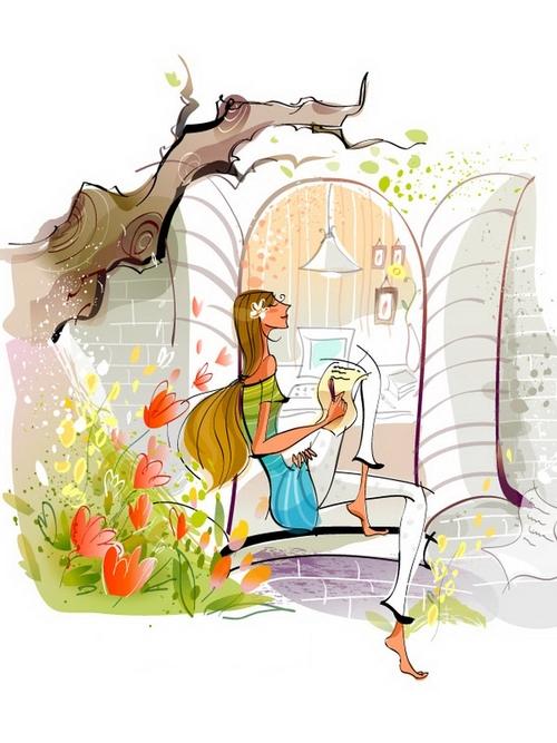 Writing letter girl illustration vector