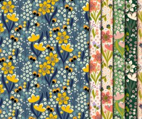 Yellow flowers seamless pattern vector