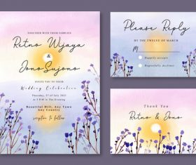 Yellow sun in the lake watercolor landscape wedding invitation card vector