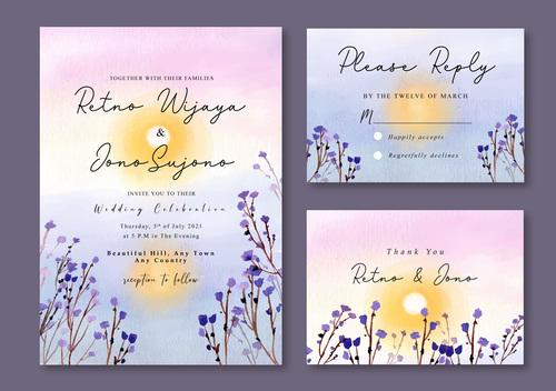 Yellow sun in the lake watercolor landscape wedding invitation card vector