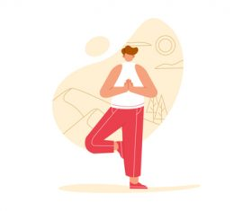 Yoga cartoon illustration vector