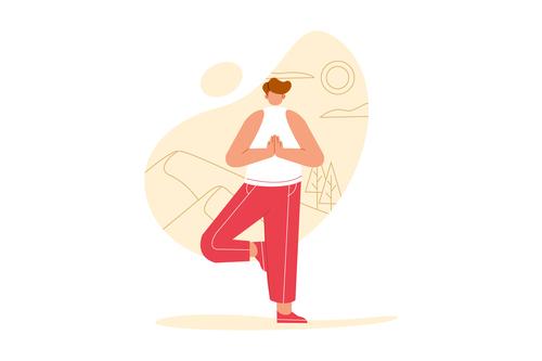 Yoga cartoon illustration vector