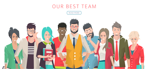 Young people cartoon illustration vector