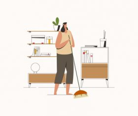 Young woman cleaning home vector