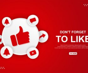 Youtube do nt forget to like button vector