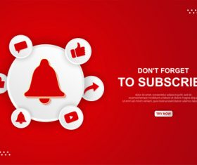 Youtube subscribe button vector
