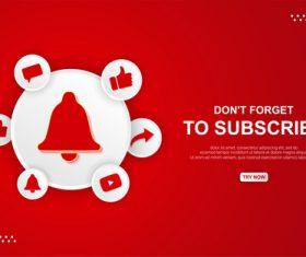 Youtube subscribe button vector