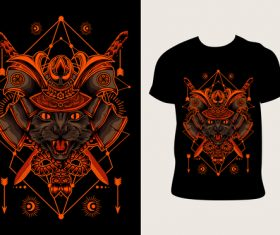 kucing samurai pattern T-shirt printing vector