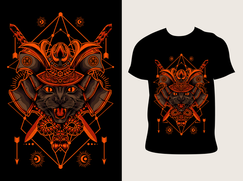 kucing samurai pattern T shirt printing vector