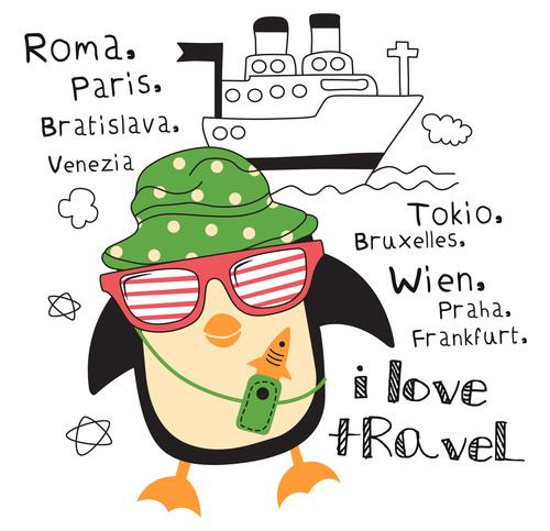 love travel doodle vector