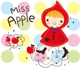 miss apple cartoon doodle vector