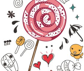 pink candy doodle vector